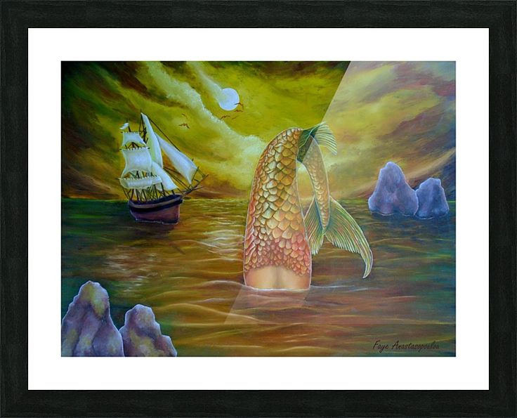 Framed, Art Print, meramaid,painting,ocean,scene,wild,seascape,water,legendary,mythological,mythical,aquatic,creature,fish,sailboat,nautical,marine,night,moonlight,atmospheric,moody,big,fantasy,imaginary,vivid,colorful,gold,beautiful,cool,contemporary, imaginary realism, figurative,fine,oil,wall,art,images,home,office,decor,artwork,items,ideas,for sale,pictorem