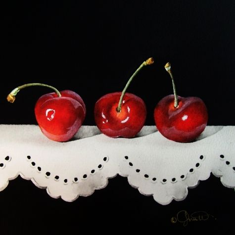 cherries still life | Cherries on Lace, original painting by artist Jacqueline Gnott ...