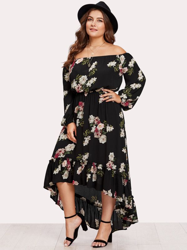 11615d6eb4 Shop Elasticized Waist Flounce Dip Hem Bardot Dress online. SheIn ...