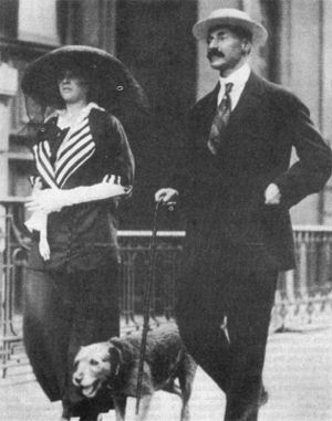 John Jacob Astor lV & wife 19 year old Madeleine & his dog Kitty.  Headed for the Titanic...he & Kitty did not survive.  Madeleine on her return later gave birth to their son John Jacob Astor VI.