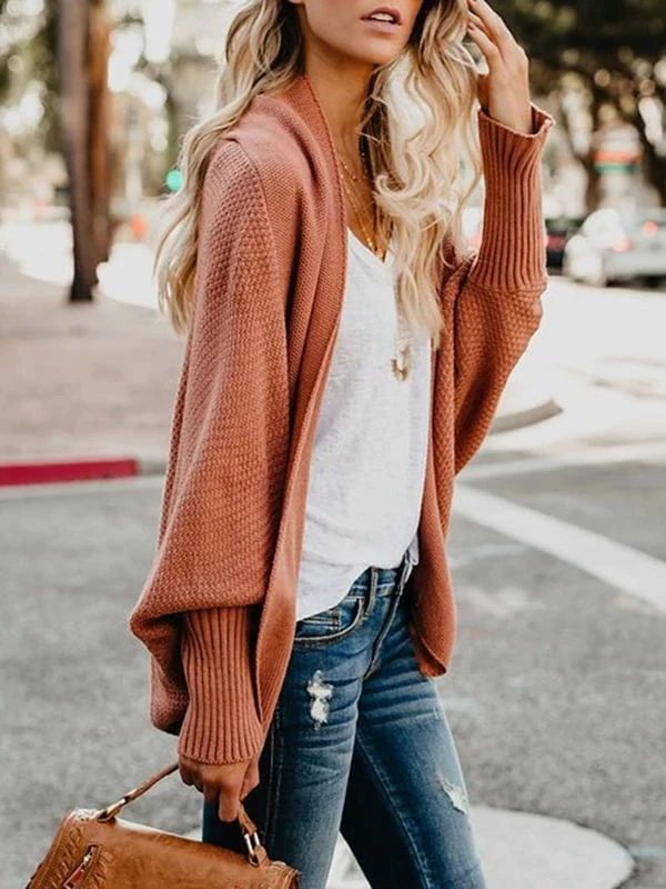 Brick Red Loose Mid-Length Cardigan Women's Sweater – dressiu