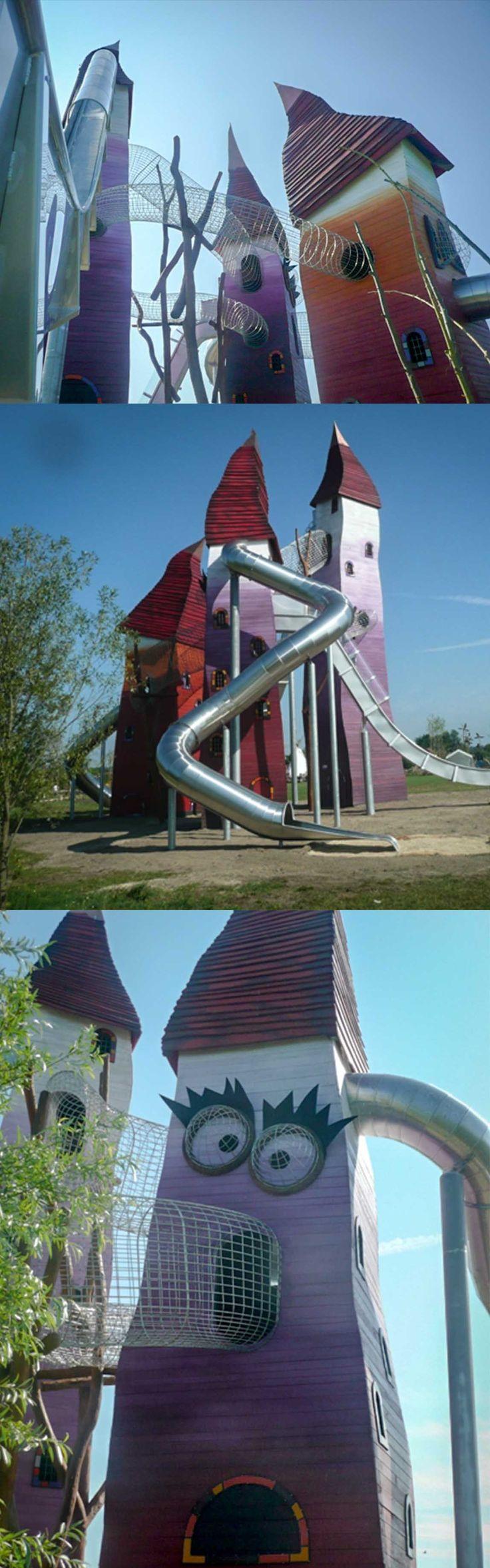 This unique imaginative playground with towers and slides was build by our creative wood design company in Storkow in 2011. Dieser einzigartige fantasievolle Holz-Spielplatz - mit Rutschentürmen wurde durch unsere künstlerische Holzgestaltung im Jahr 2011 in Sorkow errichtet. #Robinie #Robinienholz #Türme #Spielturm #Rutsche #Spielanlage #Spielplatz #Spaß #Abenteuer #Fantasie #robinia #robiniawood #playground #playfield #park #woodenpark #slide #tower #roleplay #fun #fantasy #slide