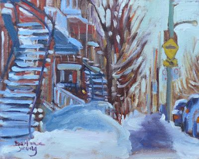 Darlene Young a Painting a Day: 1001 Mile End, Montreal Winter Scene, 8x10, oil on...