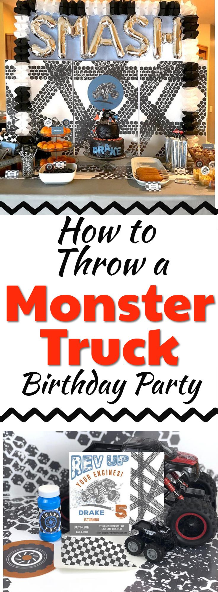 What a fun monster truck party this will be! Everything is here to host the perfect kid birthday party!  Monster Truck Birthday Party Invitation, Truck party, Boy Birthday theme, Monster Jam Truck Party, Tire Tracks, Truck Invite, Racing Party #monstertruckparty #affiliate #birthdayparty