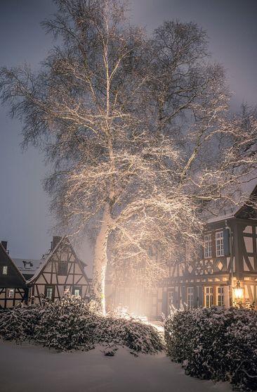 Tudor home in the winter