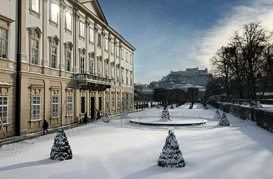 The Schloss Mirabell Palace and gardens in winter