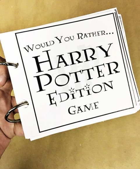Free Printable Harry Potter themed Would You Rather! Party Game idea