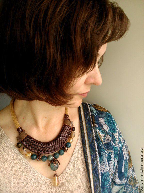 Купить Украшение на шею с апатитом и флюоритом - разноцветный, коричневый, бирюзовый, морская волна, песочный, желтый