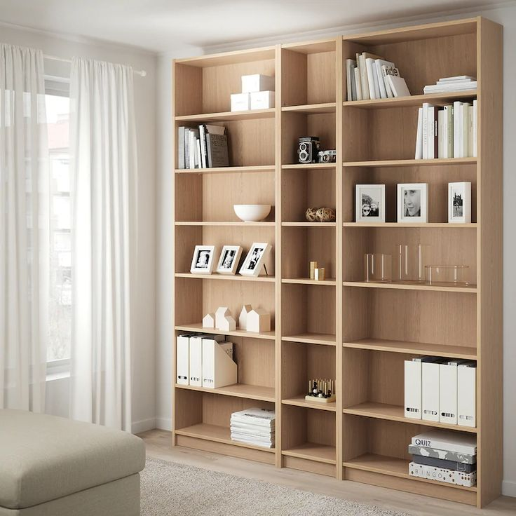 BILLY white stained oak veneer, Bookcase w height ...