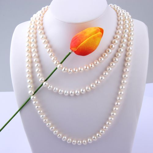 7.5-8.0 mm White Freshwater Pearl Necklace 150cm Longth - $159.99