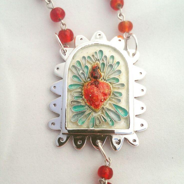 Andrea Osses. Sagrado Corazon, silver, heart casting,enamel and glass. June 2015