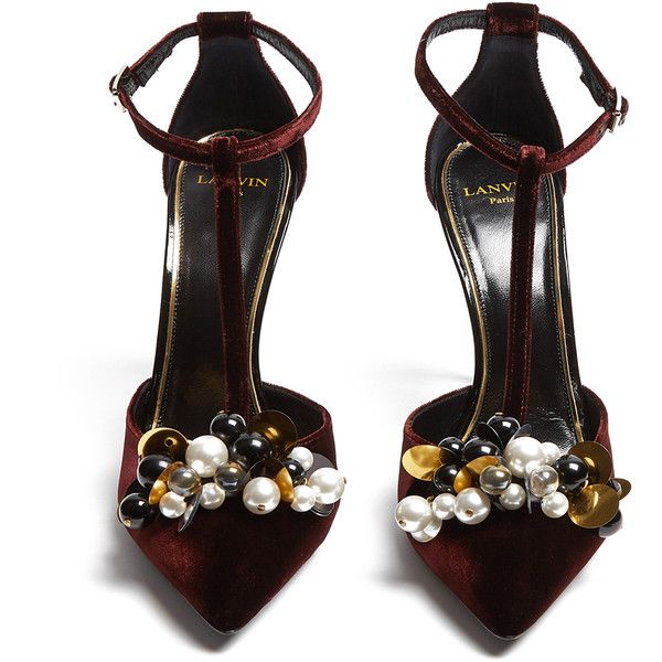 Lanvin Embellished velvet pumps (€680) ❤ liked on Polyvore featuring shoes, pumps, heels, velvet pumps, peep toe pumps, stiletto pumps, chunky-heel pumps and metallic pumps