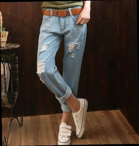 48.56$  Watch here - http://ali7am.worldwells.pw/go.php?t=32789397609 - Boyfriend Style Ankle Length Ripped Jeans For Women Korean Fashion Loose Harem Vintage Blue Jeans Pant Capris Plus Size 34 36 38 48.56$