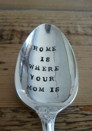 Home Is Where Your Mom Is - Hand Stamped Mothers Serving Spoon #mom #mothersday