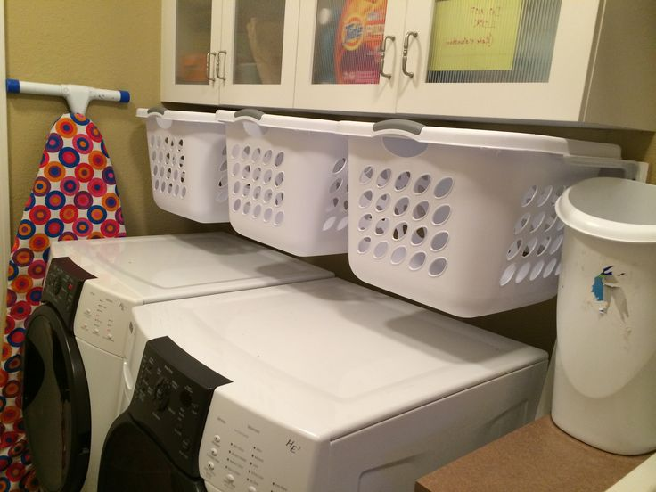 Hanging, slide-out laundry baskets for sorting in a small ...