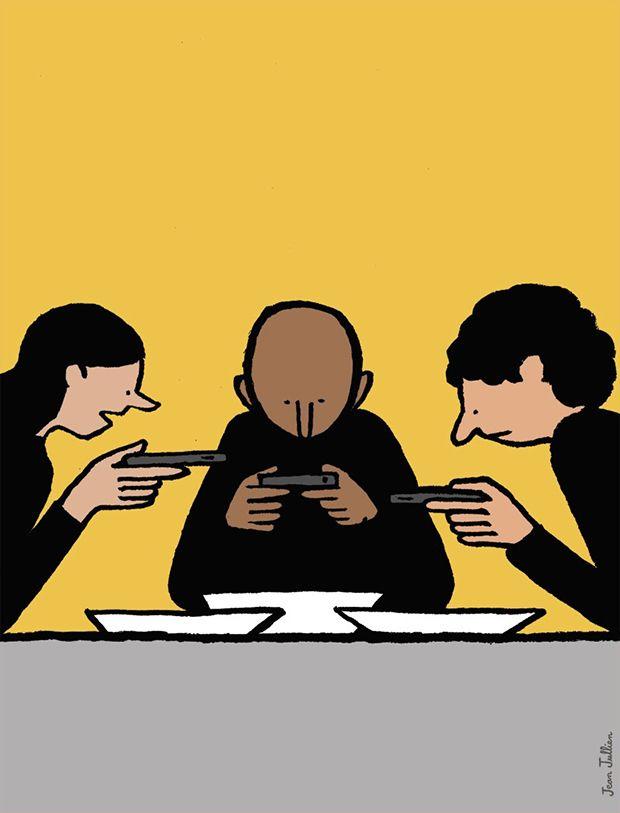 Ilustrações satíricas de Jean Jullien criticam a era digital;