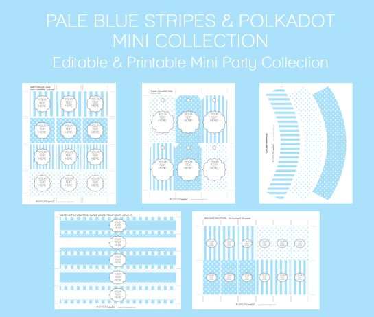 Free Baby Shower Printables - Editable Pale Blue Stripes and Polkadots Mini Collection