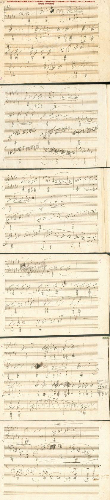 "L v Beethoven, Sonate für Klavier ""Sonata quasi una Fantasia"" (cis-Moll) op. 27,2, PART 1 Adagio Sostenuto; Autograph from Beethoven Haus in Bonn, Germany http://www.beethoven-haus-bonn.de/sixcms/detail.php?id=15123&template=dokseite_digitales_archiv_de&_dokid=wm20set%5Bdouble%5D=0&set%5Bmets%5D=http%3A%2F%2Fwww.beethoven-haus-bonn.de%2Fmods%2F00003292.mods.xml"