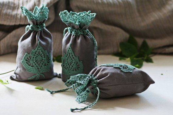 Gray Linen Reusable Drawstring Bags For Tea Leaves Natural Linen