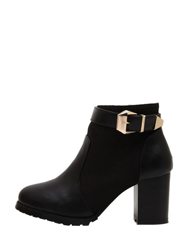 Shining Buckle Thick Heel Womens Short Boots