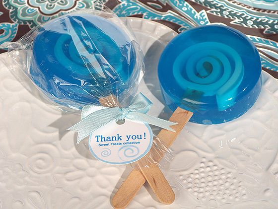 Sweet Treats Blue Lollipop Soap Favors (Cassiani Collection 6051) | Buy at Wedding Favors Unlimited (http://www.weddingfavorsunlimited.com/sweet_treats_blue_lollipop_soap_favors.html).