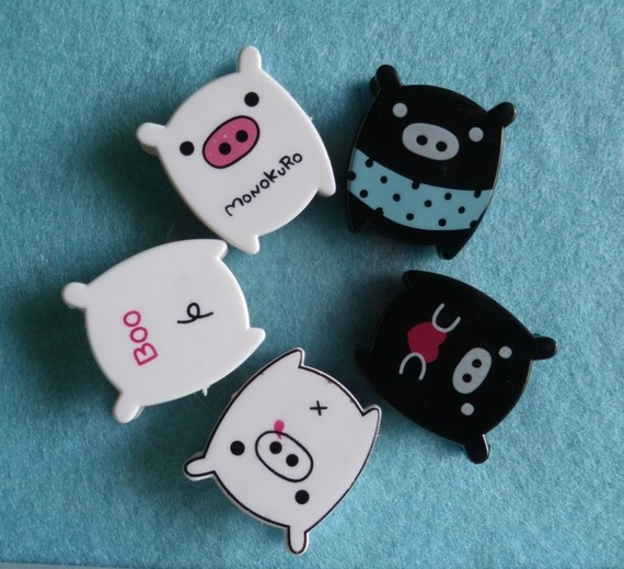 cute Monokuro Boo Pig paper clips from JinggaBeads at Etsy
