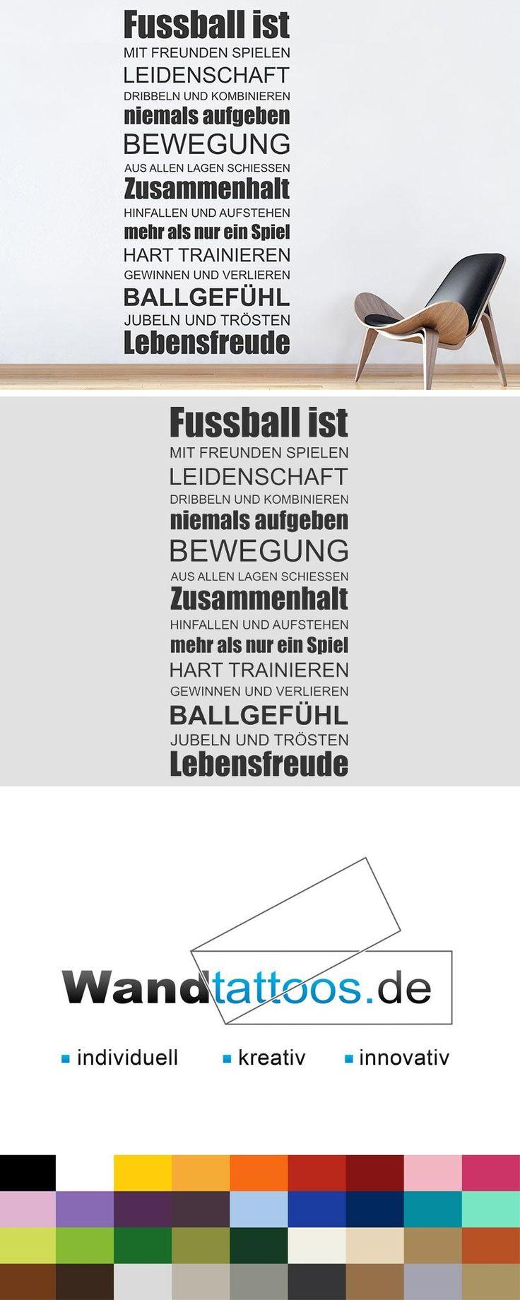 Wandtattoo Fußball ist Leidenschaft als Idee zur individuellen Wandgestaltung. Einfach Lieblingsfarbe und Größe auswählen. Weitere kreative Anregungen von Wandtattoos.de hier entdecken!