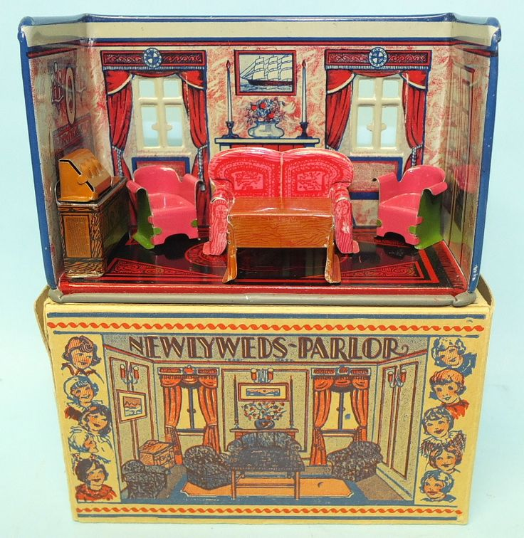 1920′s MARX NEWLYWEDS PARLOR TIN TOY MINIATURE DOLL HOUSE
