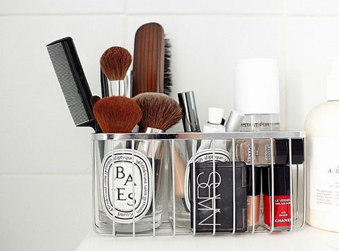 wire storage bin for makeup