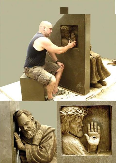Inspiring Confession sculpture of Padre Pio by Timothy Schmalz