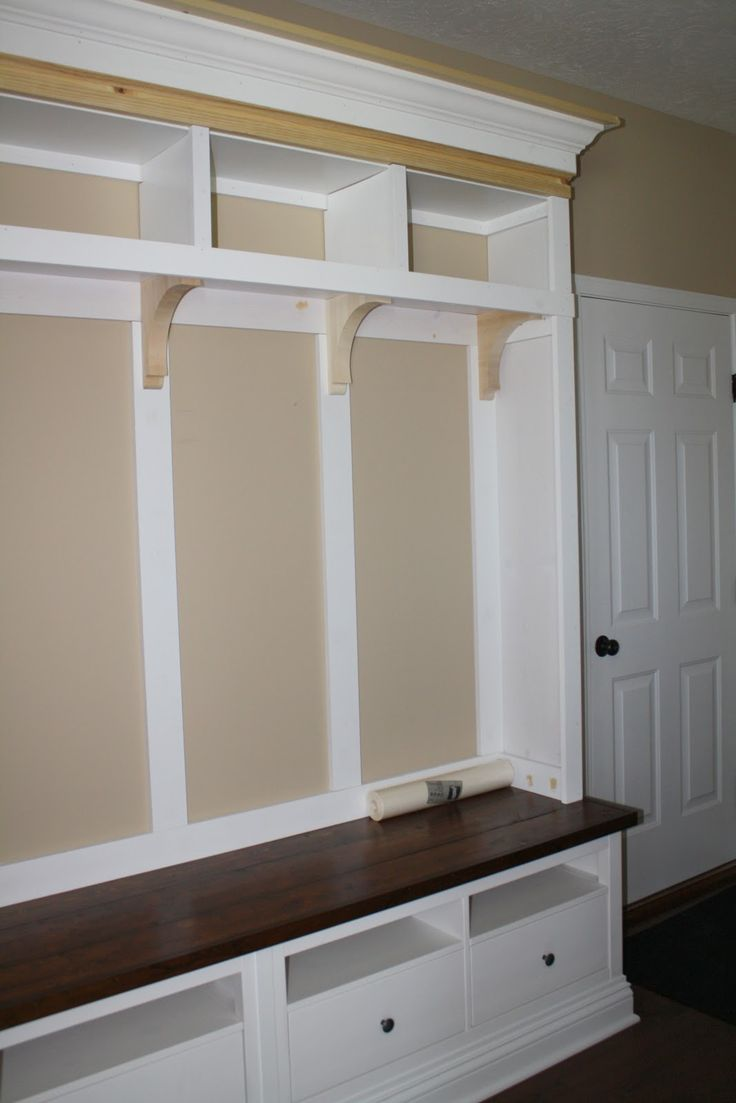 Mudroom Storage: Reveal!!} Our mudroom storage unit is finished, y ...