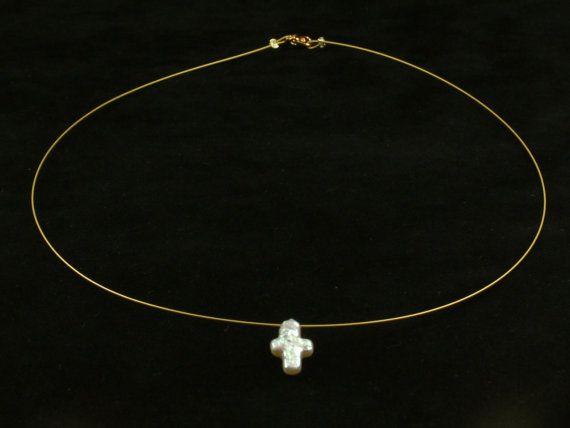 Draad ketting met kruis gevormde Pearl Κολιέ από door AkoyaPearls