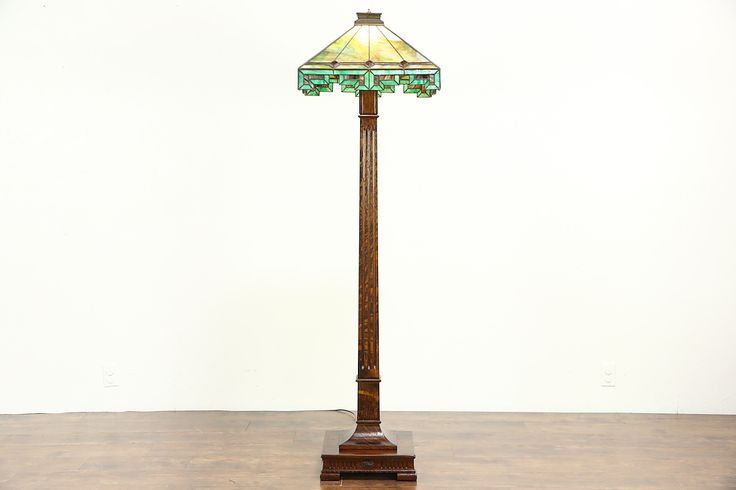 Arts & Crafts Antique Oak Craftsman Floor Lamp, Leaded Stained Glass Shade