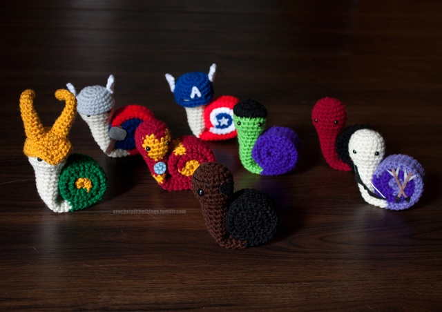 Crocheted Avengers as Snails - Snailvengers Assemble! …Slowly.
