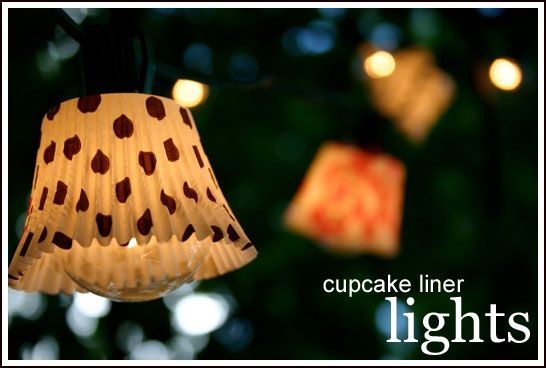 Cupcake Liner Lights... Transform an ordinary strands of lights into a flirty party decoration that will add a touch of brightness to any event!