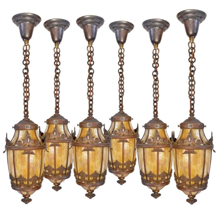 Copper-Plated Victorian Pendant with Bent Slag Glass Panels | From a unique collection of antique and modern chandeliers and pendants at https://www.1stdibs.com/furniture/lighting/chandeliers-pendant-lights/