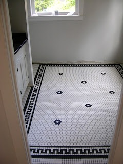 """1"""" unglazed black and white tile floor, terrific use of an inexpensive tile in a pattern that looks fantastically custom and expensive!"""
