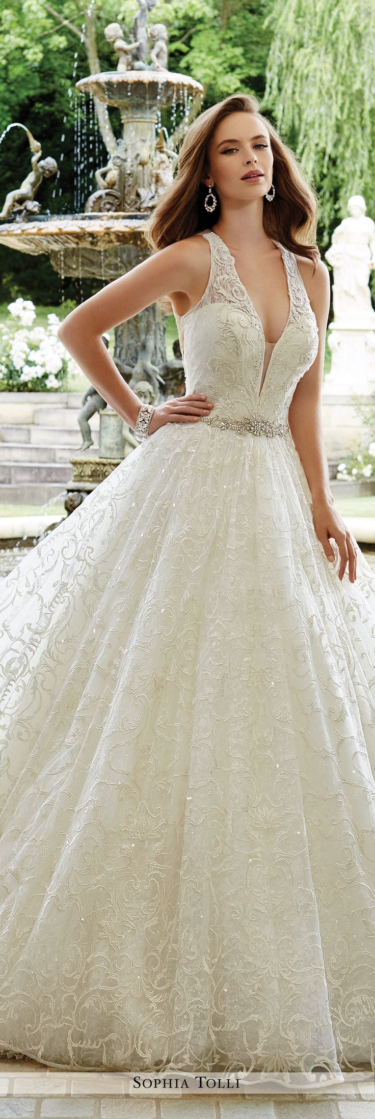 Sophia Tolli Fall 2016 Wedding Gown Collection - Style No. Y21675 Firenze - sleeveless lace and sequin ball gown wedding dress with illusion and lace back