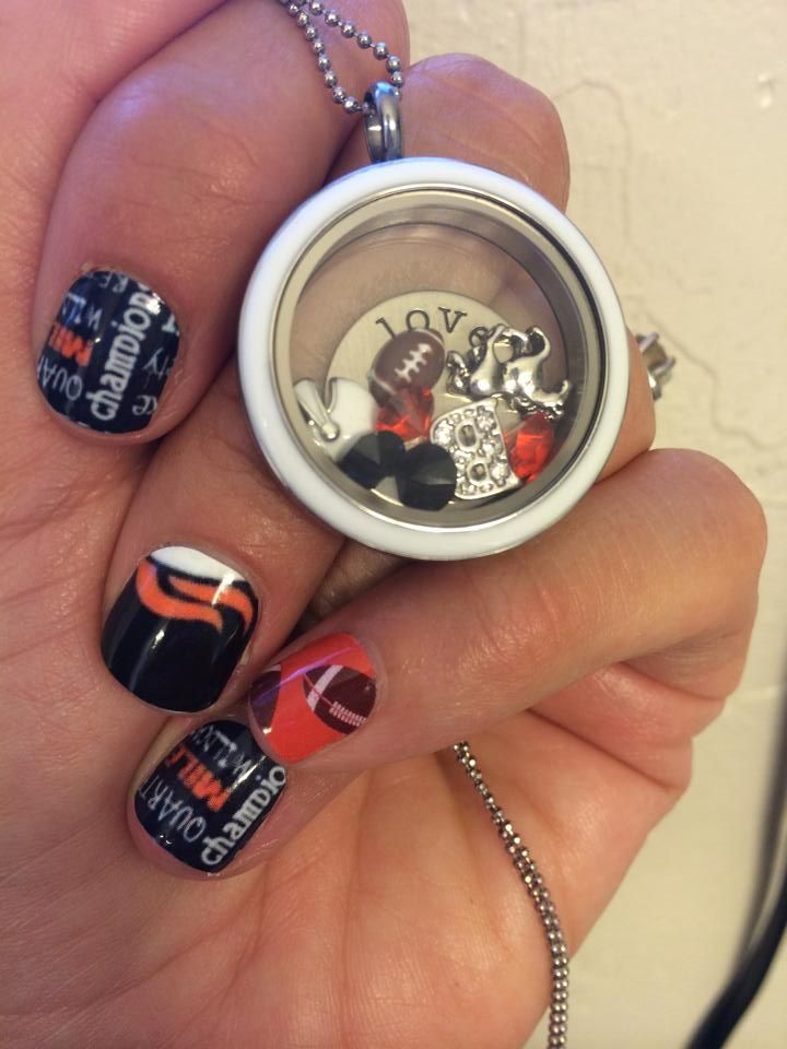 Broncos Nail Art Studio design, Carrot (retired) and Footballs on clear - Best 25+ Broncos Nails Ideas On Pinterest Denver Broncos Nails