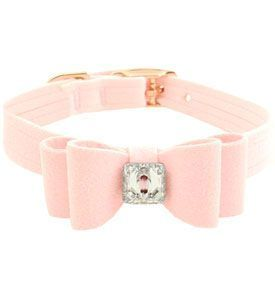 SKU: Susan Lanci Dog Collars Light Pink  Designer Swarovski Dog Collars, jeweled bling bling! Put a big bow on your sweetheart! This cute dog collar is fancy and dazzing. Made of soft, lightweight ultrasuede and is embellished with a large dazzing sparkly Swarovski crystal, sparkly and gorgeous and perfect for your spoiled girl. The material is upholstery grade ultrasuede, breathable, Washable Teacup 1-2 lb, xxs 3-4 lb, xs 4-5 lb, small 6-7 lb, medium 8-9 lb, large 10-12 lb  Price: $39.99