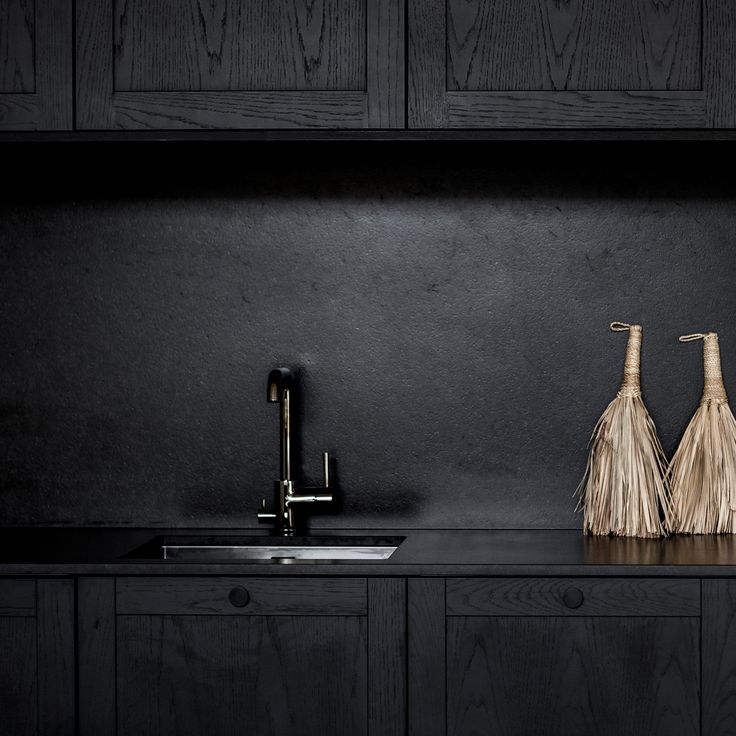 Black, but not grim. The all-black INGARÖ Smoke Oak kitchen is ennobled by the matte granite tabletop. Black PARASOL handles. Built on IKEA METOD cabinet frames. For more inspiration click on the image.