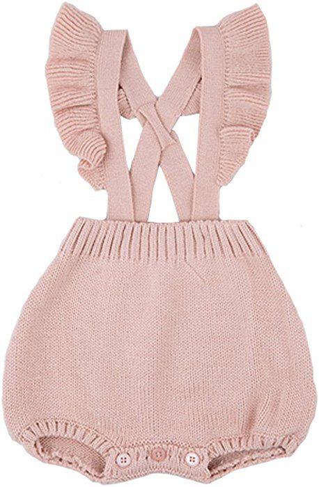 fe09f2542ed7 Amazon.com  Chulianyouhuo Baby Girls Knitted Lace Romper Cross Bandage  Ruffles Jumpsuit Bodysuit