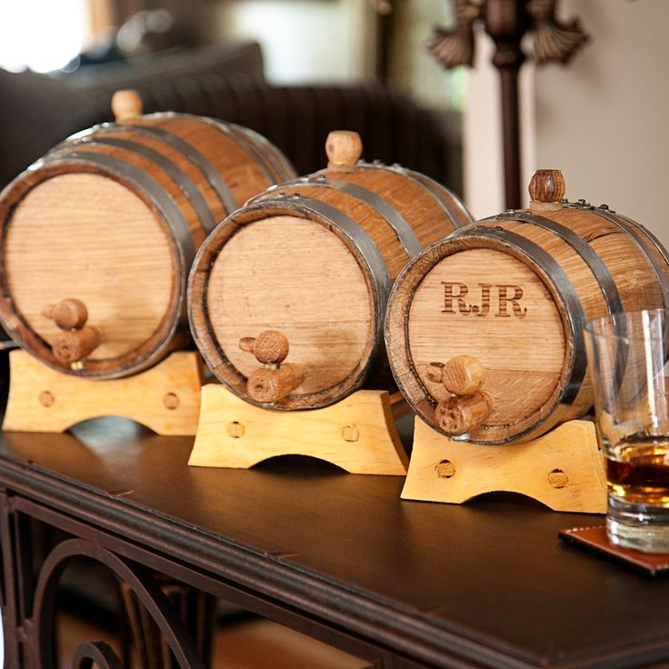 Wedding Party Gift Ideas For Groomsmen: Personalized Mini Whiskey Barrel With Steel Bands