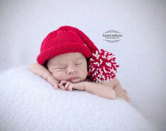 Santa Claus baby hat newborn photo prop Father Christmas boy girl red white  preemie toddler child sitter holiday hand knit first xmas d32cacdf2b75