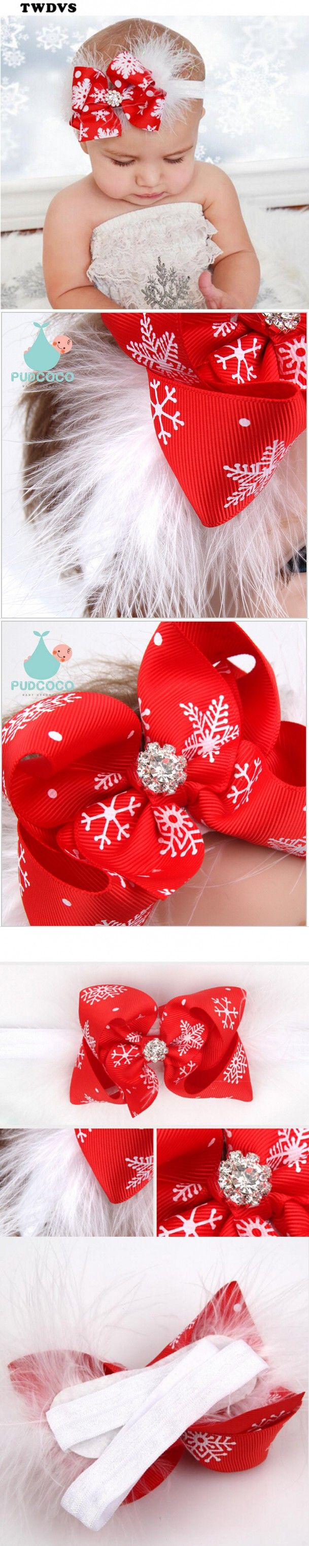 TWDVS Baby Girls Hair Bow Feather Headband Toddler Christmas Gift Kids Hair Bands Elastic Rhinestone Hair Accessories $1.65
