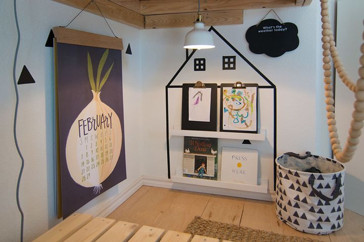 Maximizing space in kids room is always important and tucked away under the loft bed in this kids bedroom, is a little creative kids nook with hanging reading light and a book ledge.
