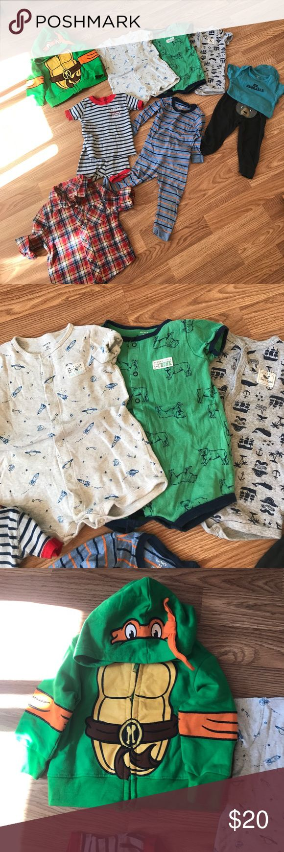 12M baby boy bundle 11 pieces. Great condition. All carters 3 rompers matching onesie with pants 2 pajama sets and Nickelodeon ninja turtle jacket and Cherokee plaid shirt Matching Sets