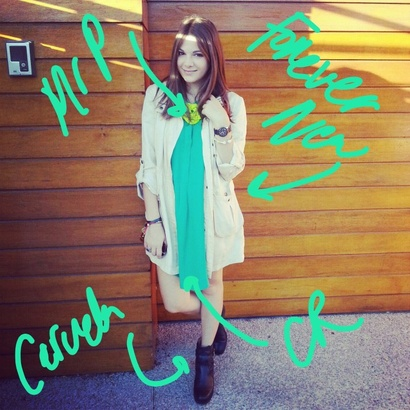 Today Im wearing a slouchy parka from Forever New, green T-dress from Country Road and my ever awesome Carvela boots. This is my staple shoot-day look.