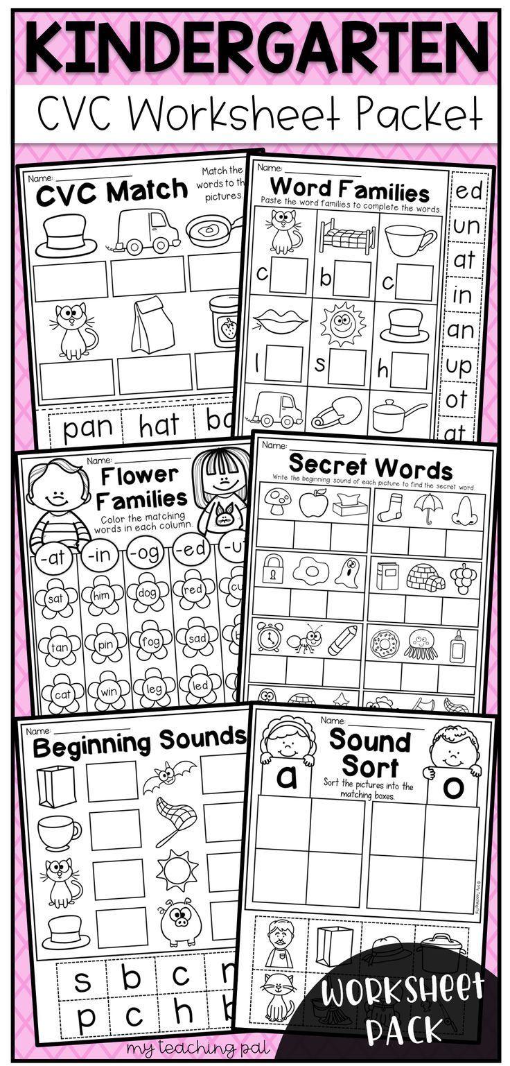Kindergarten Cvc Worksheet Packet Distance Learning Kindergarten Math Worksheets Free Kindergarten Math Free Kindergarten Math Worksheets