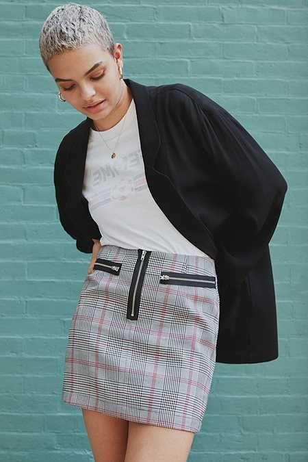 Cooperative Plaid Menswear Zipper Mini Skirt